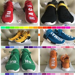 Wholesale cotton ink - 2018 Hot Pharrell Williams X Women Men Running Shoes Human Race NMD Sports Shoes Athletic Outdoor Shoes Noble Ink Yellow Blue Wholesale
