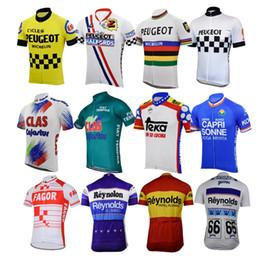 bike jerseys men Canada - men peugeot cycling jersey france spain bike retro blue clothing cycling wear racing clothes clothing braetan