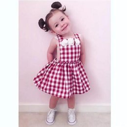 Wholesale Beach Braces - Cute Toddler Kids Girls Red Princess Plaid Flower Summer Sundress Party Dress 1-6Y One-piece Lace Brace Flower Backless Tutu Dress B11