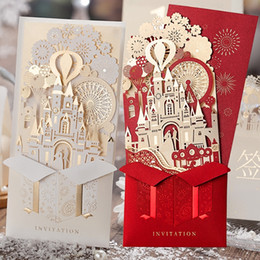 Wholesale Red Wedding Invites - Vintage Castle Laser Cut Hollow Out Wed Invitation Party Wedding Invitations Day Evening Invite Card Printing Luxury Chinese Style