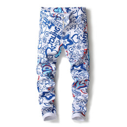 Pantalone jeans di disegno di stampa online-Jeans da uomo nuovi 2018 3D jeans elasticizzati stampa digitale pantaloni da uomo sottili pantaloni stretch bianco dipinto di design pantaloni 5003 #