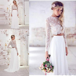 Wholesale Two Piece Simple Wedding Dresses - 2018 Cheap Two Pieces White Boho Wedding Dress High Quality Chiffon Lace Summer Beach Bohemian Long Sleeves Bridal Party Gowns Plus Size