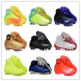 Wholesale High Ankle Shoes Mens - Mens Football Boots Magista obra II FG-Volt Black Total Orange Soccer Cleats High Ankle Soccer Shoes Control Soccer Boots With Box
