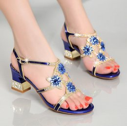 Wholesale Diamond Gold Heels - Summer sandals female han edition 2018 new diamond with crystal diamond sexy shoes for women's shoes