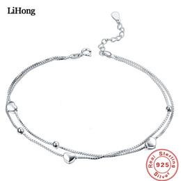 Bracelets de cheville en argent sterling en Ligne-Bracelet en argent massif en argent massif 925 pour femme avec double coeur 100% en argent sterling 925