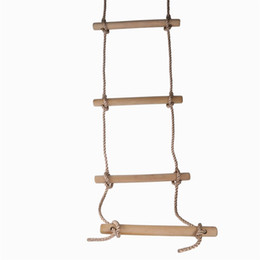 Wholesale boat items - OBCANOE Rope Ladder Sturdy Indoor Outdoor Climbling Nylon Wooden Ladder for Kids Swing Set Tree House or Boats (1.8 meter)