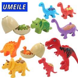 Wholesale Large Toy Bricks - UMEILE Duplo Jurassic World Dinosaur Large Particle Building Blocks Baby Toys Animal Set Brick Compatible with Duplo Gift