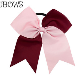Wholesale Blue Cheer Bows - 7Inch High Quality Big Ribbon Cheer Bows with Elastic School Girl Hair Bows Women Hair Bands Girls Accessories