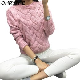 Wholesale Purple Mohair - OHRYIYIE Autumn Winter Women Mohair Sweater 2018 Fashion Thick Coarse Wool Turtleneck Sweaters Warm Knitted Pullovers Pull Femme