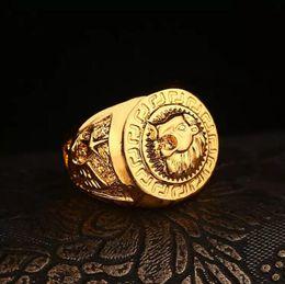 Wholesale Women 24k Gold Ring - Hip hop Men's Rings Jewelry Free Masonic 24k gold Lion Medallion Head Finger Ring for men women gift