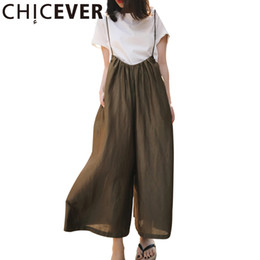 Wholesale Chiffon Trousers For Women - CHICEVER 2017 Summer High Waist Loose Trousers For Women Pant Strap Loose Wide Leg Ankle Length Female Pants Fashion Casual