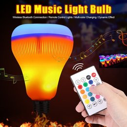 Wholesale Epistar Led Red - Intelligent LED Light Bulb Wireless Bluetooth Speaker 7W RGB Flame Lamp bulb 13 Colors Stereo Audio lamp With Remote Control