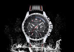 Новая мода повседневная MEGIR Спорт водонепроницаемый кварцевые мужские часы лучший бренд класса люкс бизнес кварцевые кожаные мужские часы Relogio Masculino от