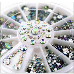 Rodas quentes arte on-line-Venda quente 5 Tamanhos Branco Multicolor Acrílico Nail Art Decoração Glitter Strass 3D Nail Art Decoração + Roda