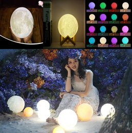 Wholesale Rechargeable Usb Led Light - 3D LED Night 16colors Magical Moon LED Light Moonlight Desk Lamp USB Rechargeable 3D Light Colors Stepless for Christmas lights or gifts