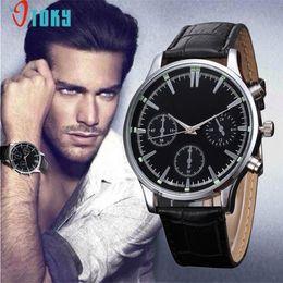 OTOKY DropShip Fashion Mens Unisex reloj de cuero de imitación de acero inoxidable Big Dial caja redonda Business Quartz reloj de pulsera # 0713 desde fabricantes
