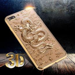 2019 3d chinesisches telefon für Apple iPhone 6S Plus / 7/7 Plus Silikontasche Rückseitige Abdeckung Stilvolle 3D Relif Chinesische Dragon Plating Slim Shell Handy Zubehör günstig 3d chinesisches telefon