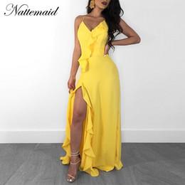 e31c502fb41 2019 robe jaune sans maxi sexy NATTEMAID Rouge Jaune En Mousseline À  Volants Robe Des Femmes