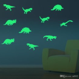 2019 pegatinas de dinosaurio removibles Novedad PVC Extraíble A Prueba de Humedad Anti Estático Paster Luminoso Mini Dinosaurio Patrón Pegatinas de Pared Para Niños Dormitorio Decoraciones 7 5gf ZZ pegatinas de dinosaurio removibles baratos