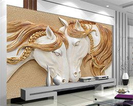 Wholesale Horse House - High Quality Custom Photo Wallpaper 3D Stereo Embossed Horse Living Room TV Backdrop Wall Mural Art Painting Mural Wall Paper