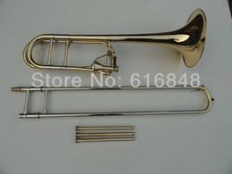 2019 trombón Alta calidad Tenor latón Trombone chapado en oro Trombone cónico Edward 42 B Flat Drawn Tubes instrumentos musicales Trombone trombón baratos