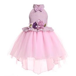 Vestido de cola de milano de las muchachas online-Las muchachas del verano Dovetail vestido de bola de encaje de flores arco moda niños vestido de fiesta Boutique niños ropa