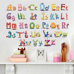 Bulmaca Erken Eğitim Macun 26 İngilizce Alfabe Duvar Çıkartmaları Çocuk Odaları Için Karikatür Sanat yatak odası Duvar Arka Plan Çıkartması supplier alphabet room stickers nereden alfabe odası çıkartmaları tedarikçiler