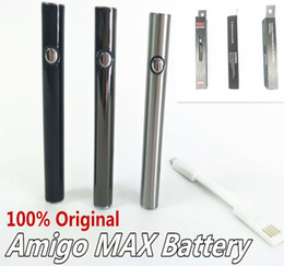 Wholesale Micro Batteries - Original Amigo Max Battery Vape Pen Battery Preheating Variable Voltage 380mah Bottom Charge Bottom Charged Micro-USB Power Level Indicate
