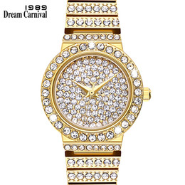 Рождественские часы онлайн-Dreamcarnival 1989 Full Crystals Round Case  Wrist Bracelet Watches for Women Stone Dial Ladies Clock Christmas Gift A8367