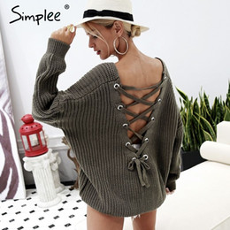 Discount backless sweater long sleeve - Simplee Sexy hollow knitted pullover V neck backless lace up autumn winter sweater Loose long sleeve jumper pull women tops 2018