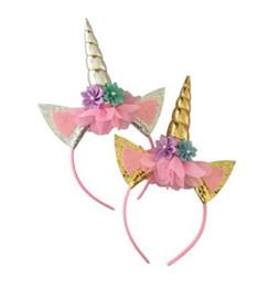 Детская оплетка онлайн-Kids Girl Hairband Unicorns Wig Braid Hair Clasp Child Costumer Ponytail Unicorn Headbands Glitter Ear Headwear