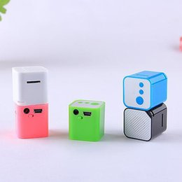 Wholesale Mini Cube Stereo Speakers - Hot New Portable mini MP3 Player Support Micro TF SD Card sport small cubed mp3 Stereo Music players Extroverted speaker O3