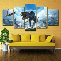 pintura de dinossauro Desconto Pintura da lona de Decoração Para Casa Arte Da Parede Quadro 5 Peças Jurassic Park Dinossauros Imagens Para Sala de estar HD Imprime Animal Cartaz