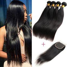 Wholesale Wholesale Natural Hair Supplies - 8A Brazilian Virgin Hair Straight Human Hair With Closure Unprocessed Brazilian Straight Hair 3 Bundles with Closure Wholesale Beauty Supply