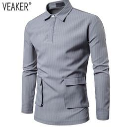 93284ade568 2018 Autumn New Men s Slim Fit Striped Shirt Gray Black Long Sleeve pockets Shirts  Male Casual Business Shirt Tops M-2XL