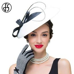 Женские платья для свадьбы онлайн-FS Fascinators Black And White Weddings Pillbox Hat For Women Straw Fedora Vintage Ladies  Dress  Hats