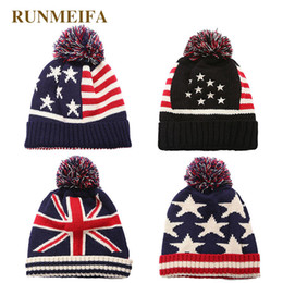 84b5f76fc1e RUNMEIFA Newest Fashion USA UK Flag Pattern Beanies For Women Warm Bonnet  Femme Gorgeous Hats Fine Knitted Beanies Free Size free knitted hat patterns  for ...