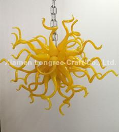 Lustre de vidro amarelo on-line-24 Polegadas de Vidro Amarelo Arte LED Lustre Mão Lustres De Vidro Soprado Sala de estar Quarto Art Home Pingente De Vidro Lâmpadas