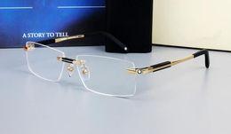 molduras de óculos de marca de aço inoxidável Desconto 0349 Marca de Design de Óculos Sem Aro Homens Óculos de Armação Larga Quadrado Óculos de armação de titânio prescrição lente óptica quadro eyewear MB