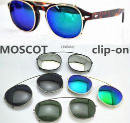 Wholesale titanium clips - New Designer S M L size moscot lemtosh cliptosh sunglasses lenses myopia frames Flip Up polarized lens clip-on clips eyewear