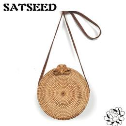 Wholesale Vietnam Gold - Vietnam Hand Woven Bag Round Rattan Straw Bags Bohemia Style Beach Circle Bag Ins Popular