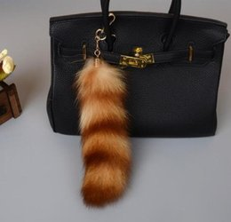 Wholesale Real Fur Accessories - Large Golden Black Real fox Tail keychain Crystal Fur Tassel Car Key ring Bag Charm Car key chain bag accessories
