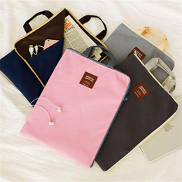 Wholesale a4 paper storage - Multifunctional A4 Paper Document Bag Filing Products Portable Waterproof Oxford Canvas Storage Bag Briefcase for Notebooks Pens