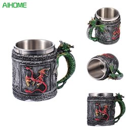 Wholesale Skull Knight - Double Wall Stainless Steel 3d Skull Mugs Coffee Tea Bottle Mug Skull Knight Tankard Dragon Drinking Cup Kup Milk