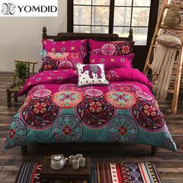 Wholesale King Size Comforters Sale - Bohemian Style Bedding set Floral Printed Bed linens Twin Queen King Size 4pcs Duvet Cover Flat Sheet Pillow case Hot sale