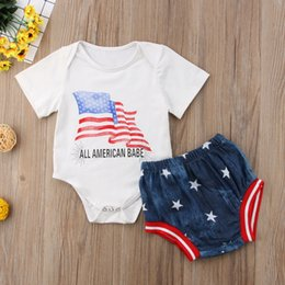 b97fbf310992 babe clothing 2019 - Baby Romper Shorts Sets Independence Day 4th July All  American Babe Letters