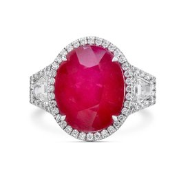 Wholesale Ruby Stone Rings - 14.50 Ct Oval Cut Real Red Ruby New Fashion Style Ring 18K White Gold Certified