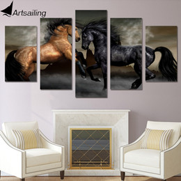 Wholesale Canvas Wall Art Ny - HD Printed 5 piece canvas art black brown horse painting wall pictures for living room wall art Free shipping ny-2946