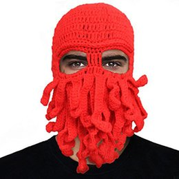 b59550c9fd6 Handmade Knit Octopus Hat Adult Children Beanie Hat Cap Halloween Funny  Party Masks Neck Face Mask Cycling Cosplay Ski Biker Headband BH12