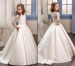 Wholesale Girls First Birthday Party - Princess White Lace Flower Girl Dresses 2017 New Sheer Long Sleeves First Communion Birthday Party Dresses Girls Pageant Dress For Weddings